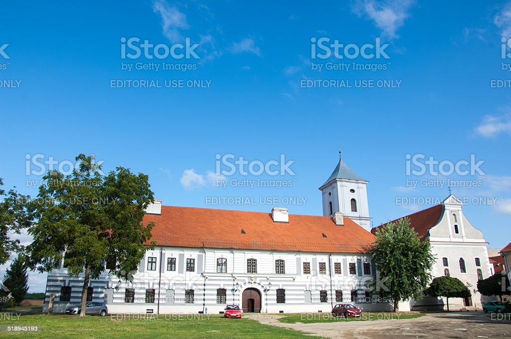 Franciscan church of the Holy Cross in Osijek stock photo