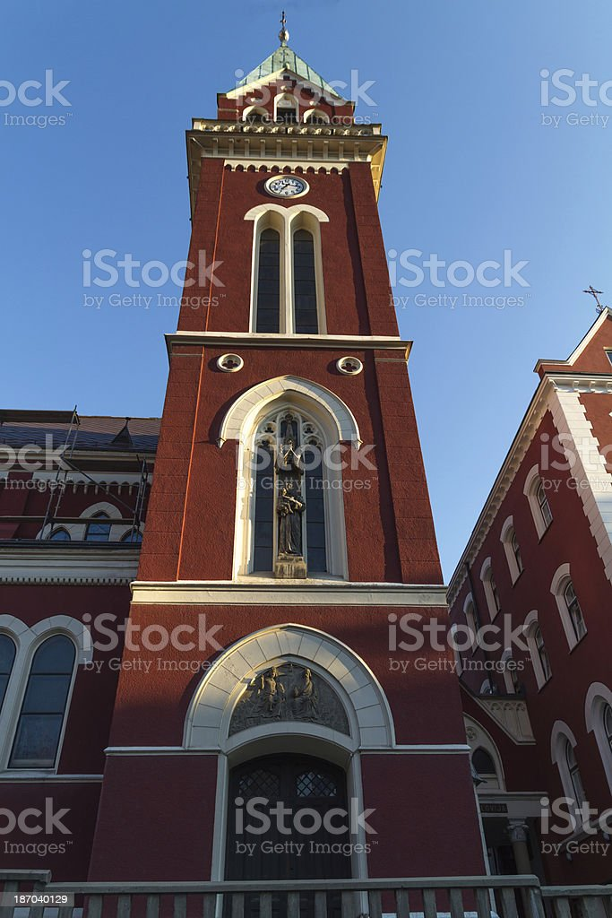 Franciscan church steeple royalty-free stock photo