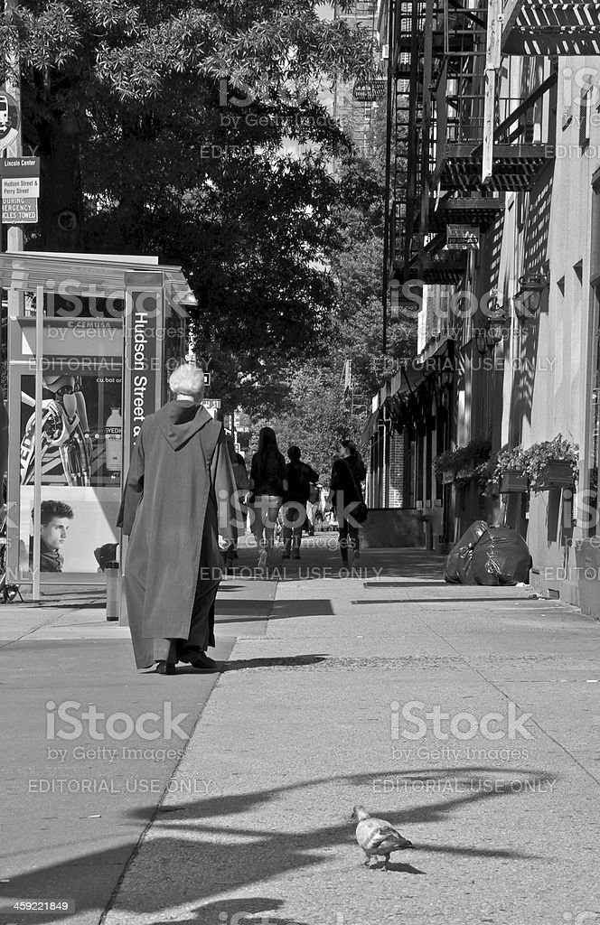 Franciscan Friar walking in Greenwich Village, New York City royalty-free stock photo