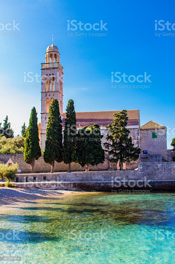 Franciscan Monastery in the town of Hvar stock photo