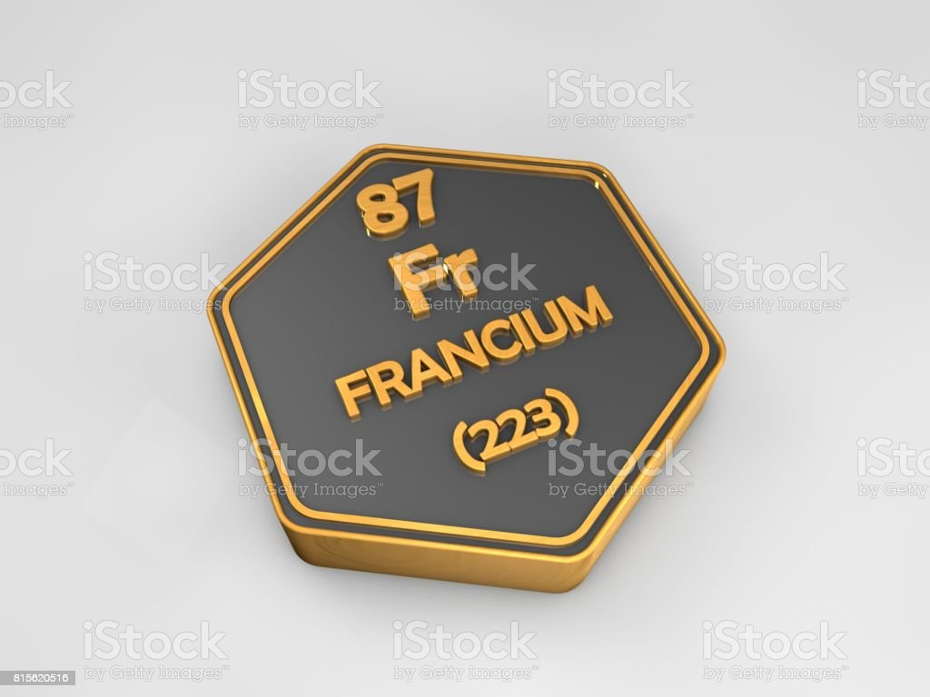 Francium - Fr - chemical element periodic table hexagonal shape 3d render stock photo