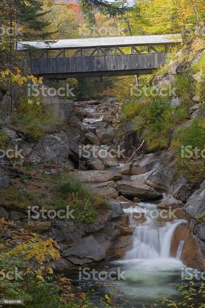 Franconia Notch Flume Series -Sentinel Pine Bridge stock photo