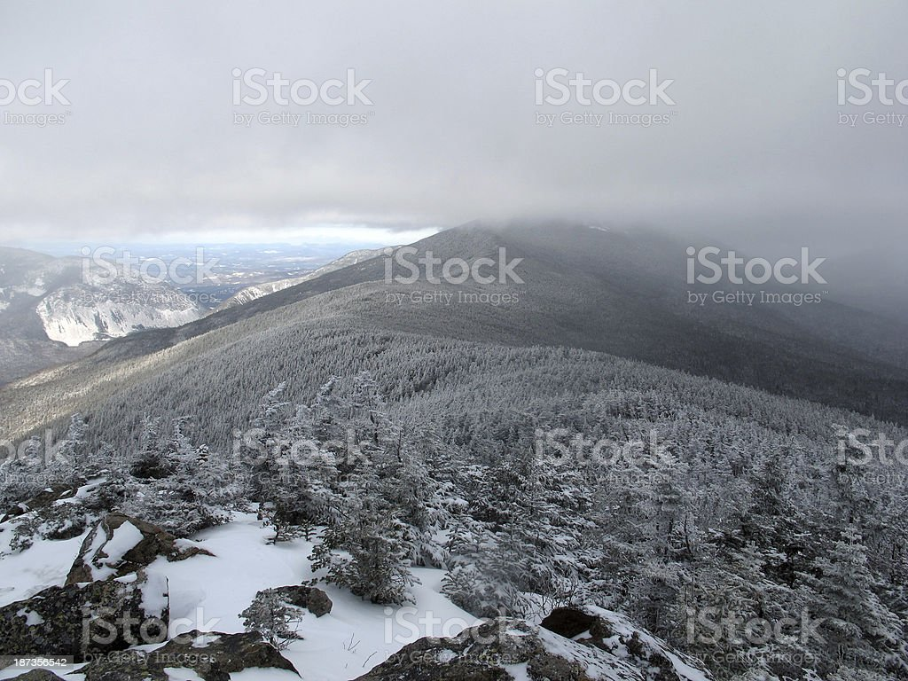Franconia Ridge Obscured by Clouds stock photo