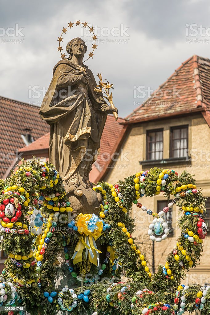 Franconian Easter fountain stock photo