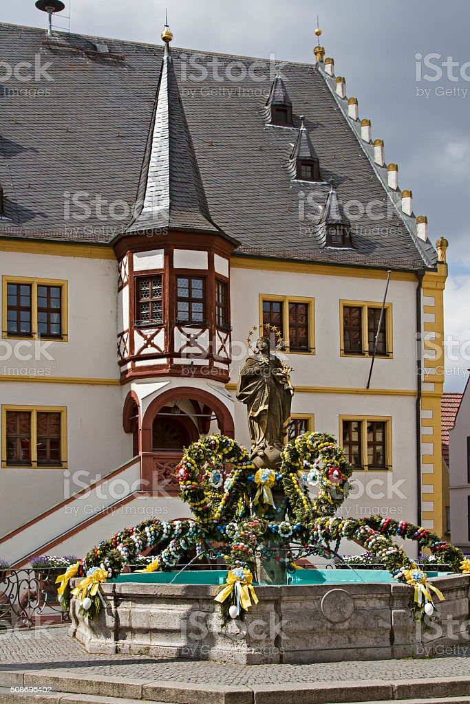 Franconian Easter Well stock photo