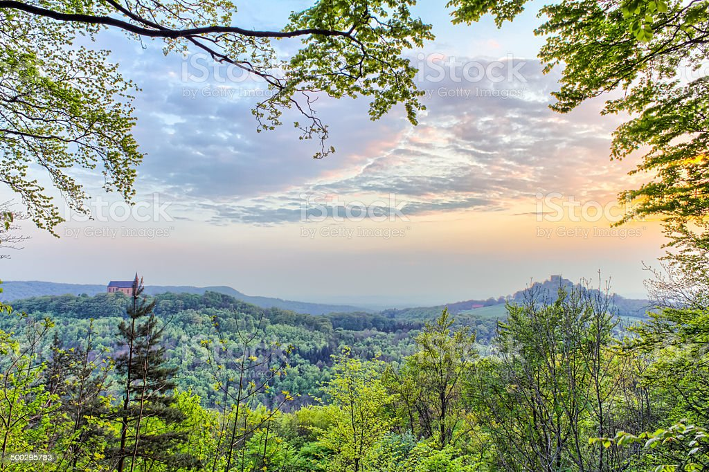Fränkische ländlichen Landschaft bei Sonnenuntergang Lizenzfreies stock-foto