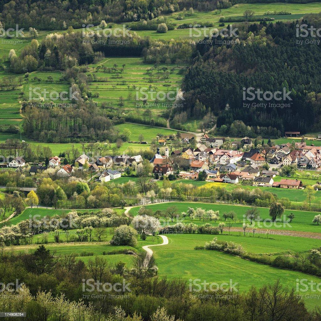 Franconian Village in Spring stock photo