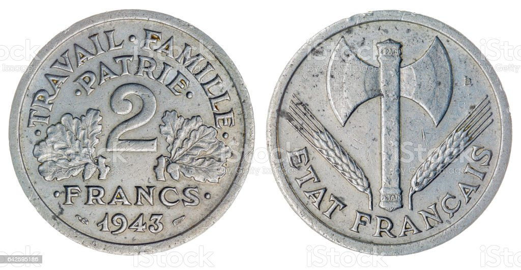 2 francs 1943 coin isolated on white background, France stock photo