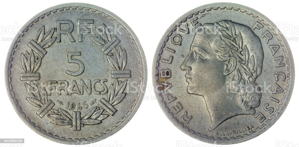 5 francs 1945 coin isolated on white background, France stock photo