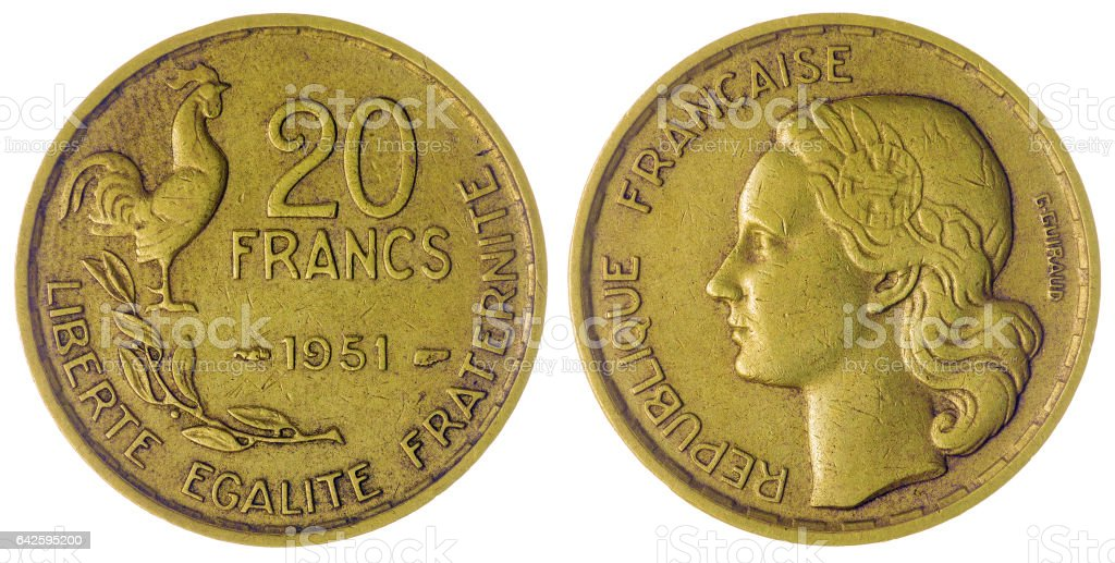 20 francs 1951 coin isolated on white background, France stock photo