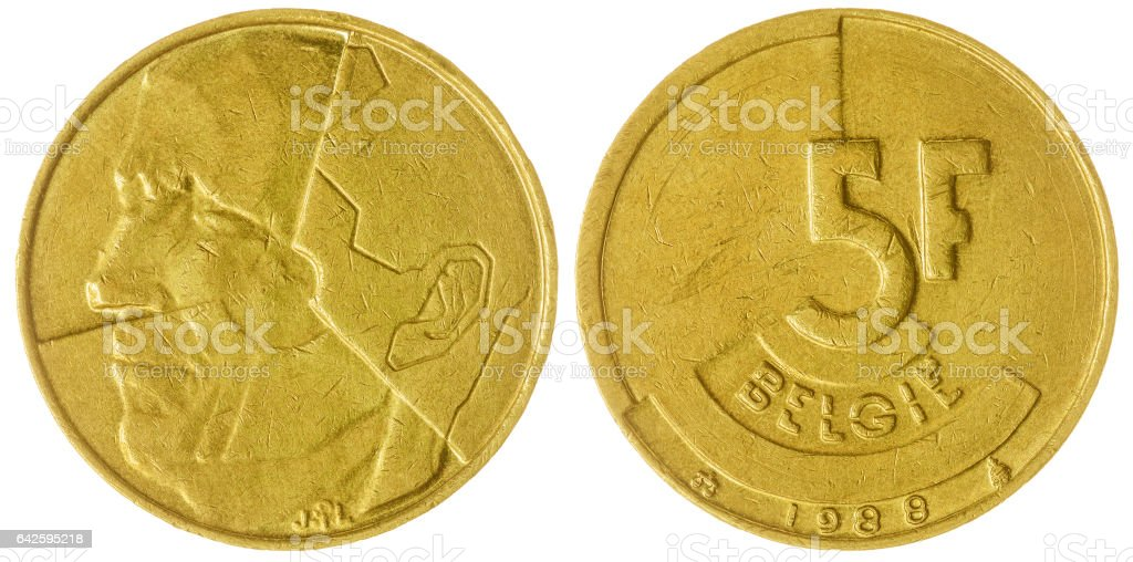 5 francs 1988 coin isolated on white background, Belgium stock photo