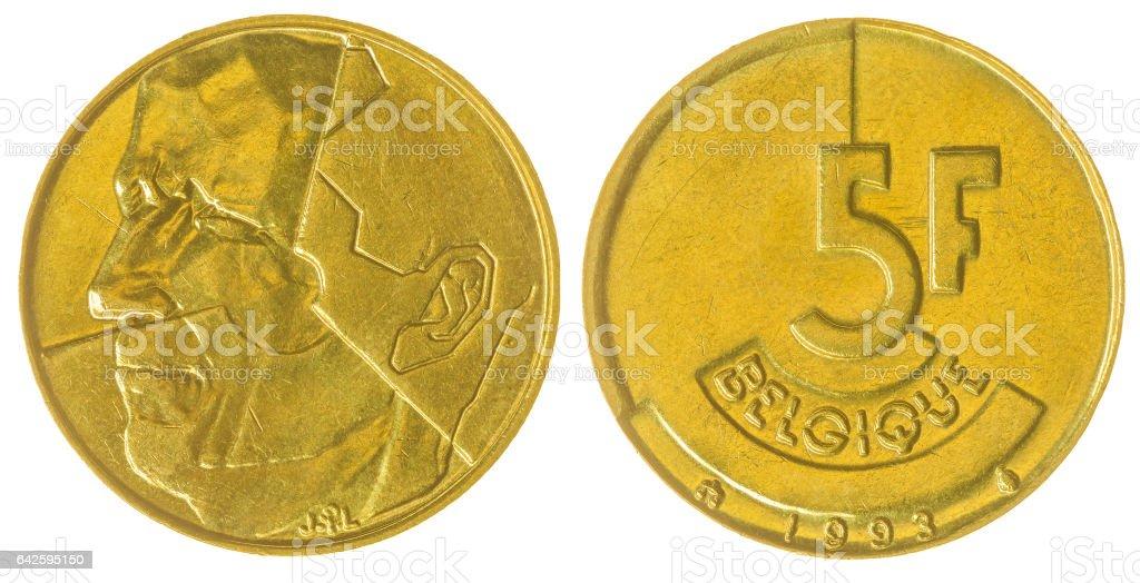 5 francs 1993 coin isolated on white background, Belgium stock photo