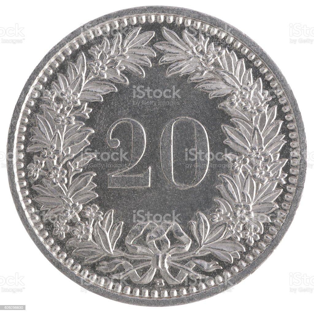 20 francs coin stock photo