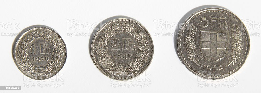 1, 2 5 francs coin front royalty-free stock photo