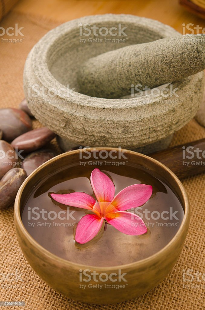 frangipani spa concept photo, lowlight ambient spa lighting, sha stock photo