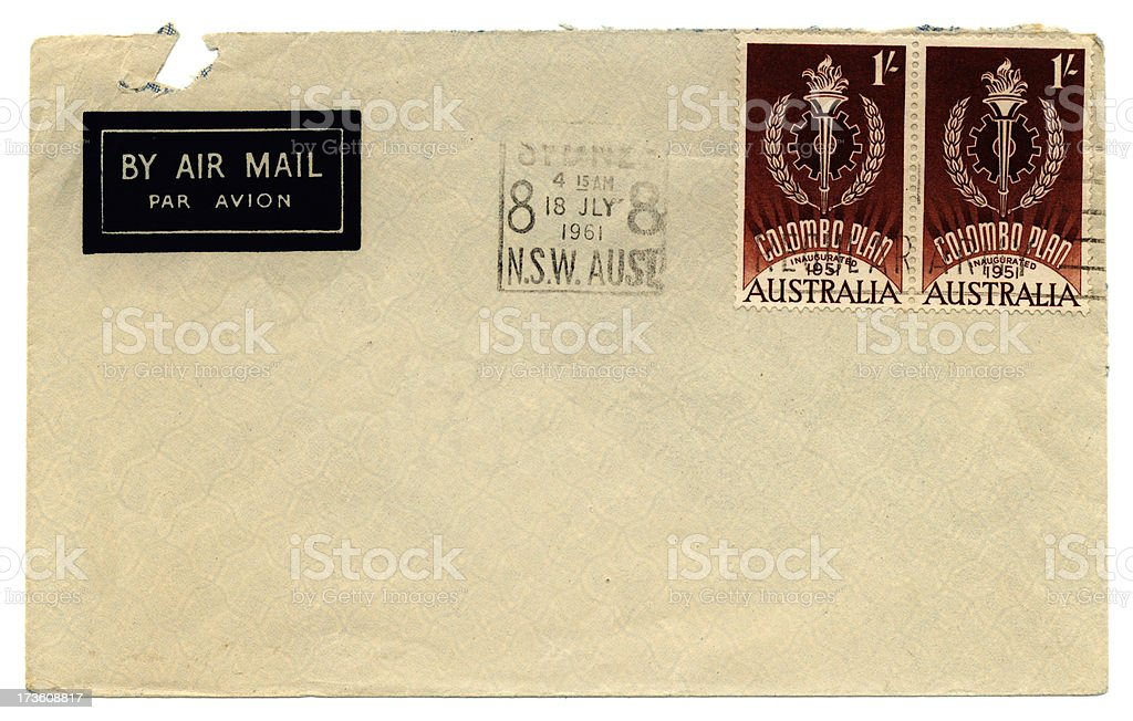 Franked envelope - Colombo Plan stamps royalty-free stock photo