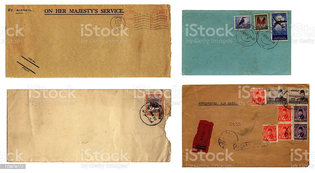 Franked old envelopes sent from African countries stock photo