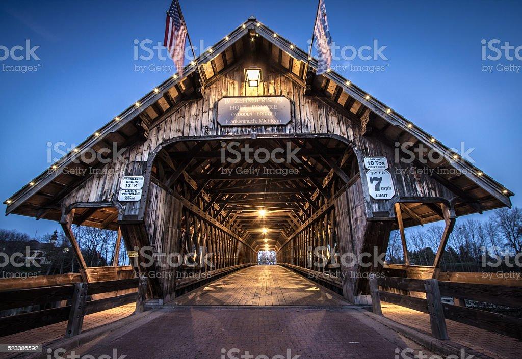 Frankenmuth Michigan Illuminated Covered Bridge stock photo