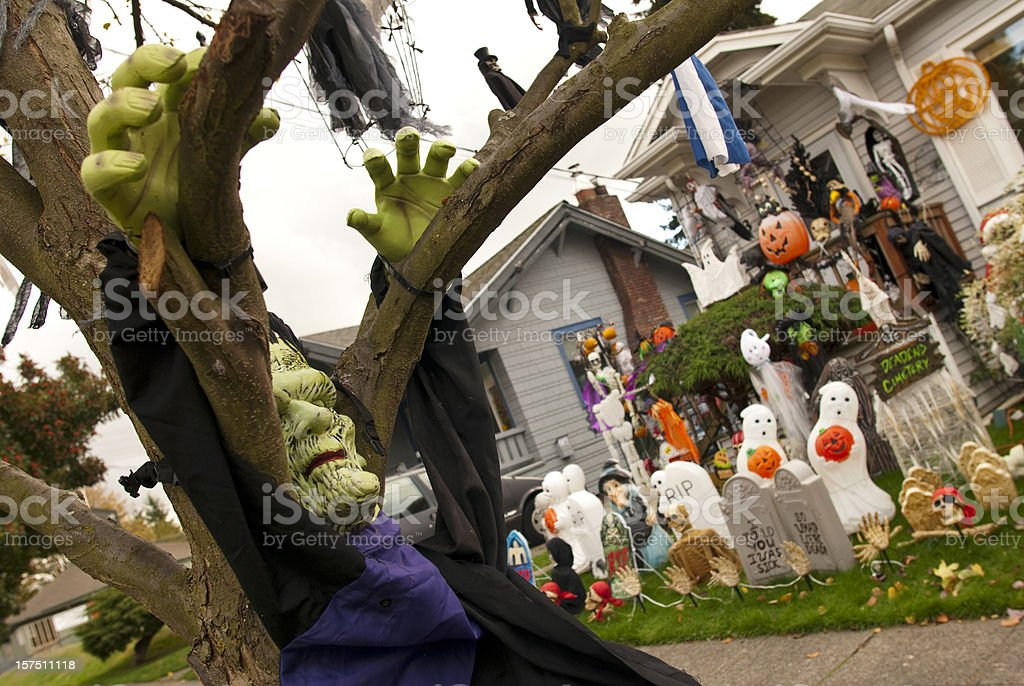 Frankenstein and other Halloween decorations stock photo
