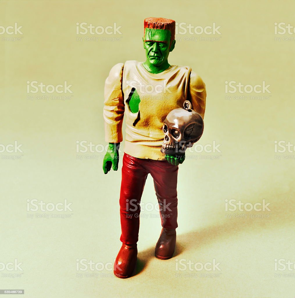 Frankenstein Holding Skull stock photo