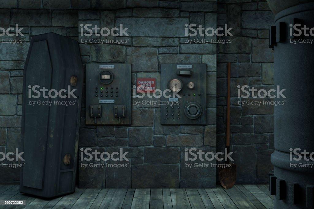 Frankenstein Mad Scientist Lab Halloween Background stock photo