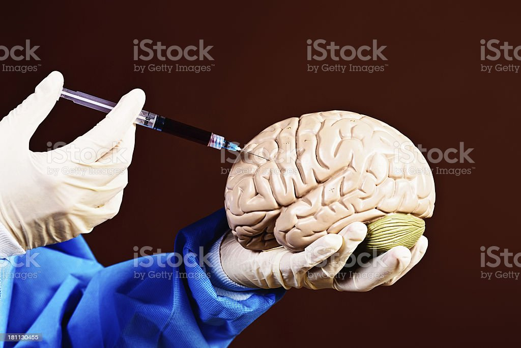Frankenstein or surgeon? Gloved hands inject model brain royalty-free stock photo