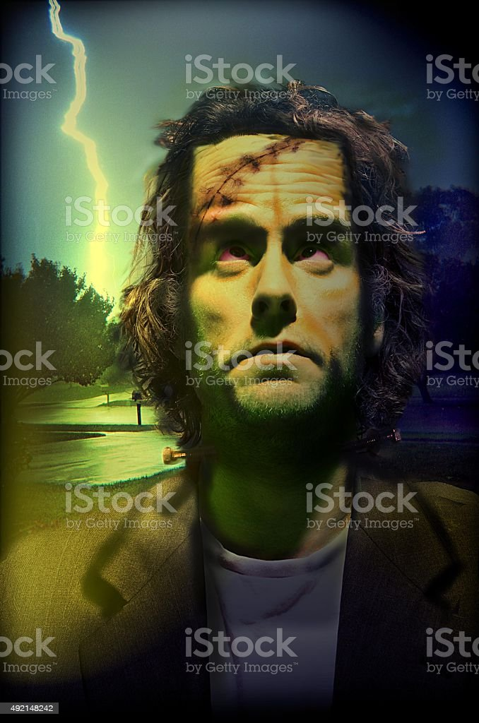 Frankenstein's monster in the suburbs stock photo