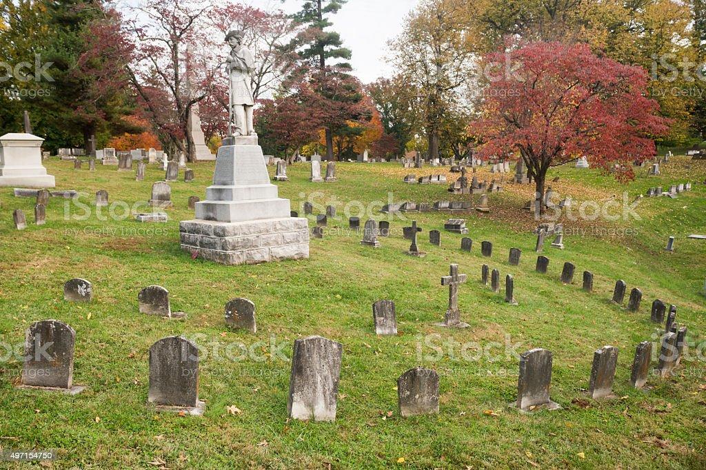 Frankfort cemetery, Kentucky in Autumn stock photo