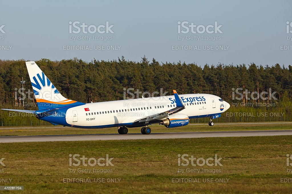 Frankfurt Airport - Boeing 737-800 of SunExpress takes off stock photo