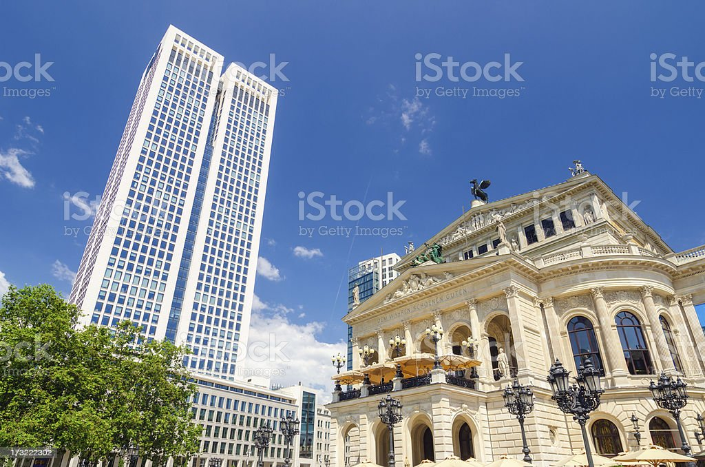 Frankfurt Alte Oper (Old Opera House) and Skyscrapers stock photo