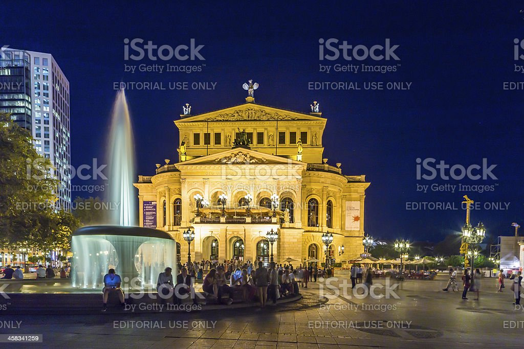 Frankfurt Alte Oper by night stock photo