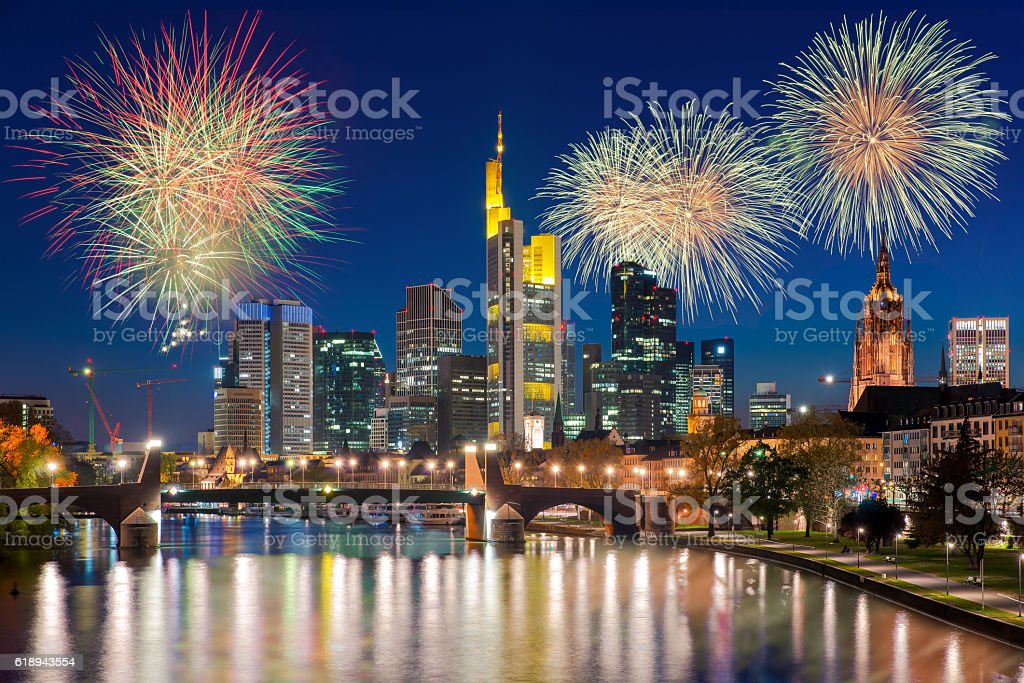 Frankfurt am Main at night with firework New year stock photo