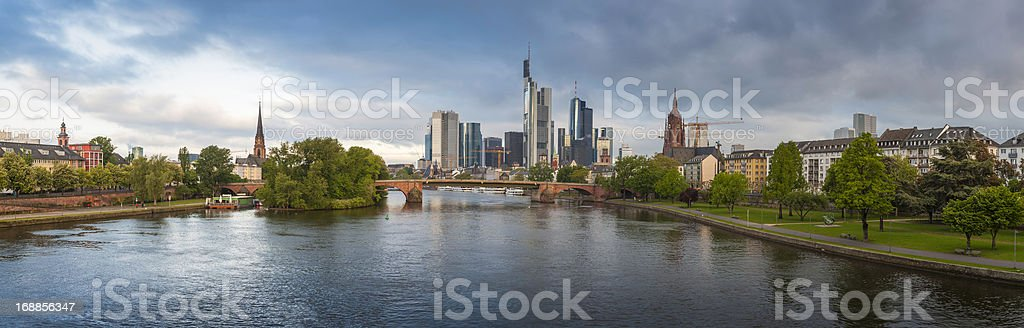 Frankfurt am Main central riverside cityscape panorama Germany stock photo