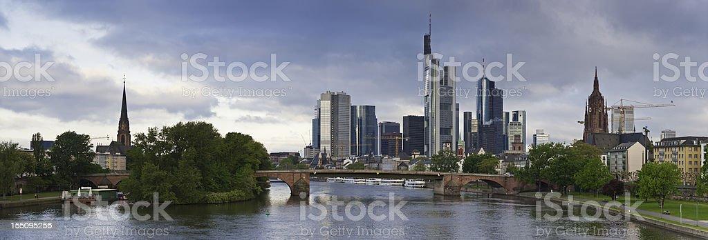 Frankfurt am Main downtown skyscrapers riverside panorama Germany stock photo