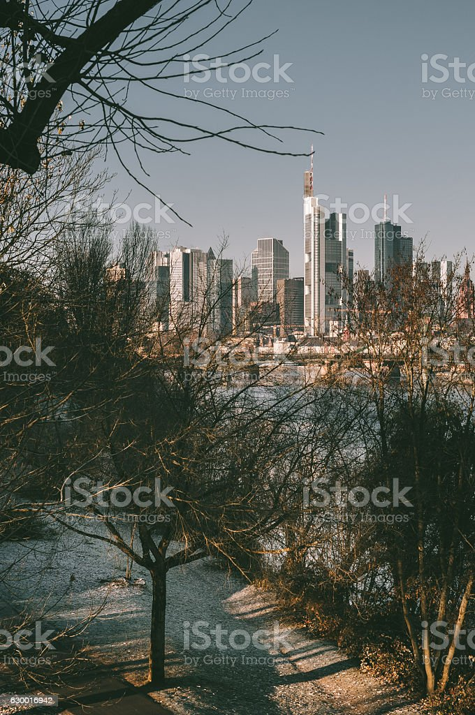 Frankfurt am Main early in the morning stock photo