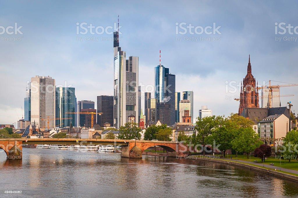 Frankfurt am Main financial district banking skyscrapers futuristic skyline Germany stock photo