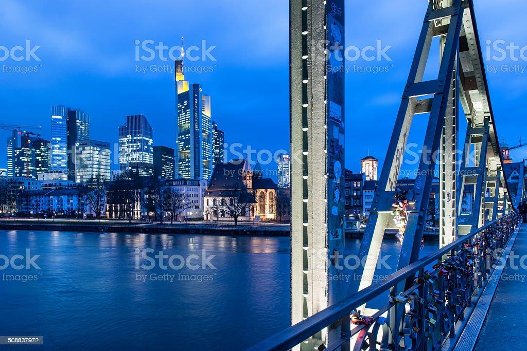 Frankfurt am Main, Germany, Skyline,Eiserne Steg at dusk stock photo
