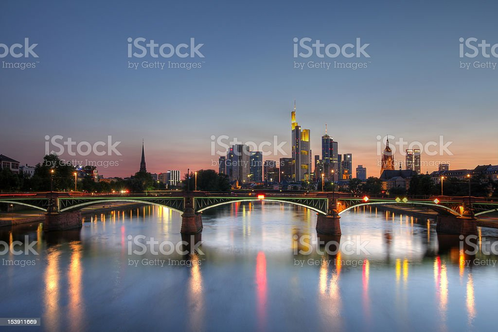 Frankfurt am Main skyline at twilight, Germany stock photo