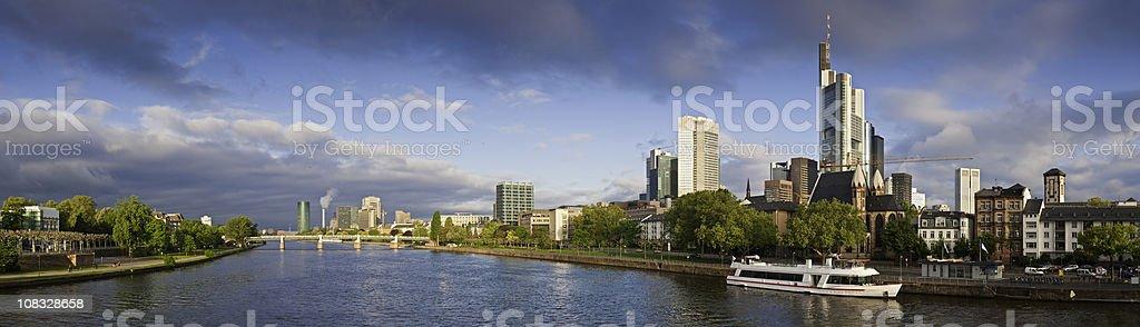 Frankfurt am Main skyscrapers river downtown cityscape panorama Hessen Germany stock photo