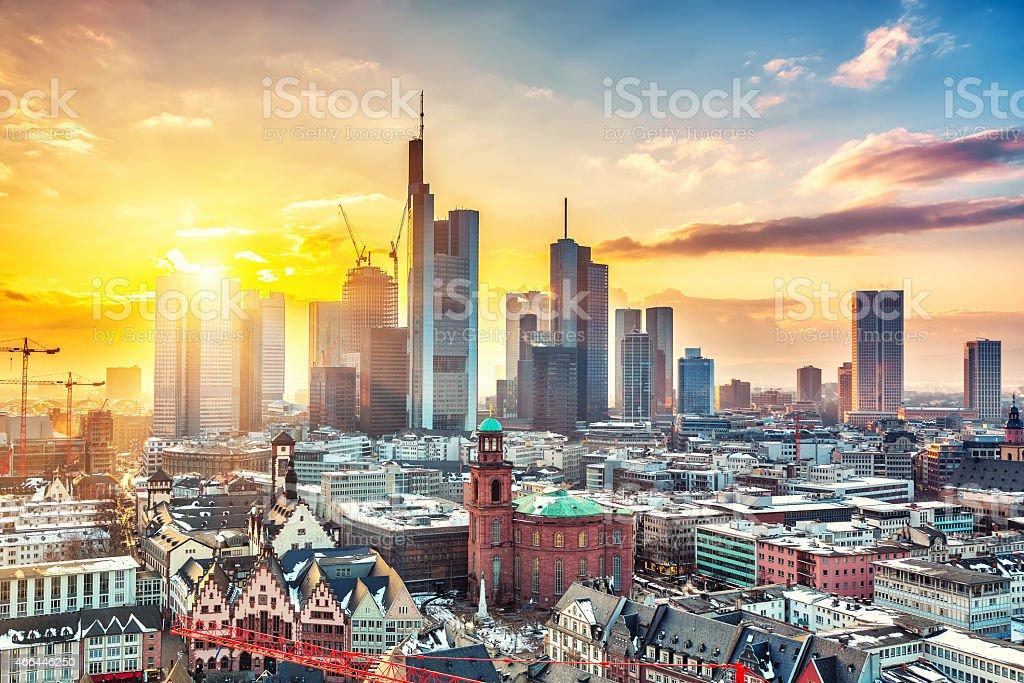 Frankfurt at sunset stock photo