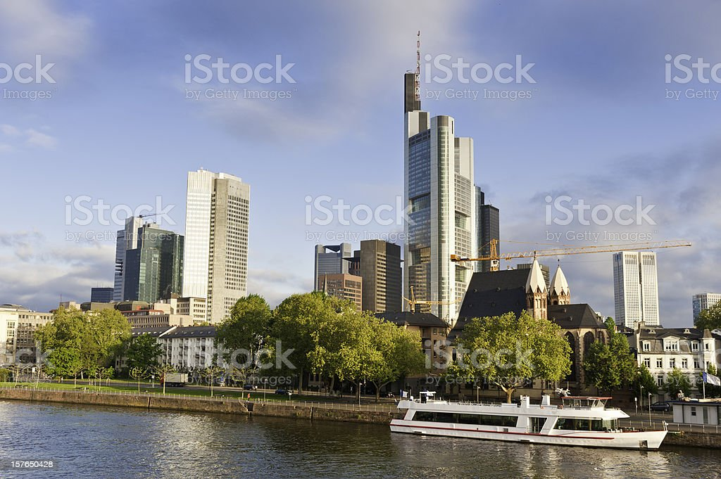 Frankfurt banks and boats downtown skyscrapers sunrise River Main Germany stock photo