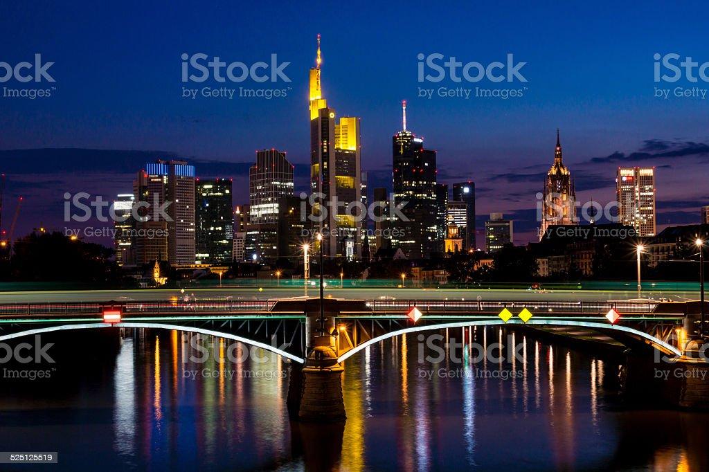 Frankfurt bei Nacht stock photo