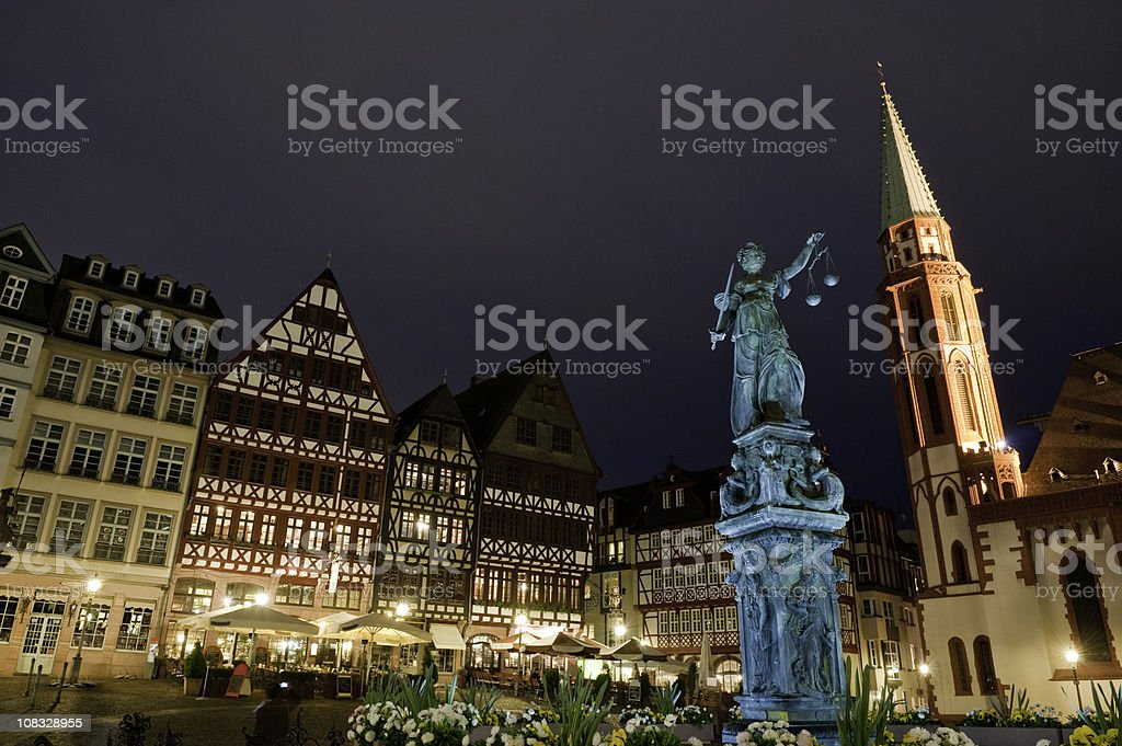 Frankfurt city square night Justica fountain Römerberg restaurants cafes Germany stock photo