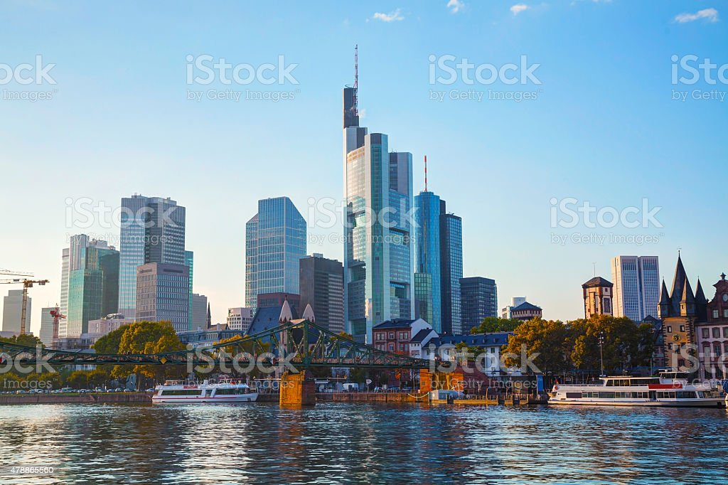 Frankfurt cityscape at sunset stock photo