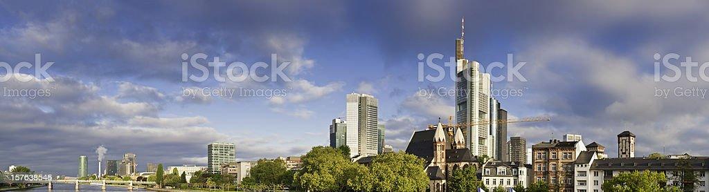 Frankfurt downtown banks skyscraper sunrise River Main waterfront panorama Germany royalty-free stock photo