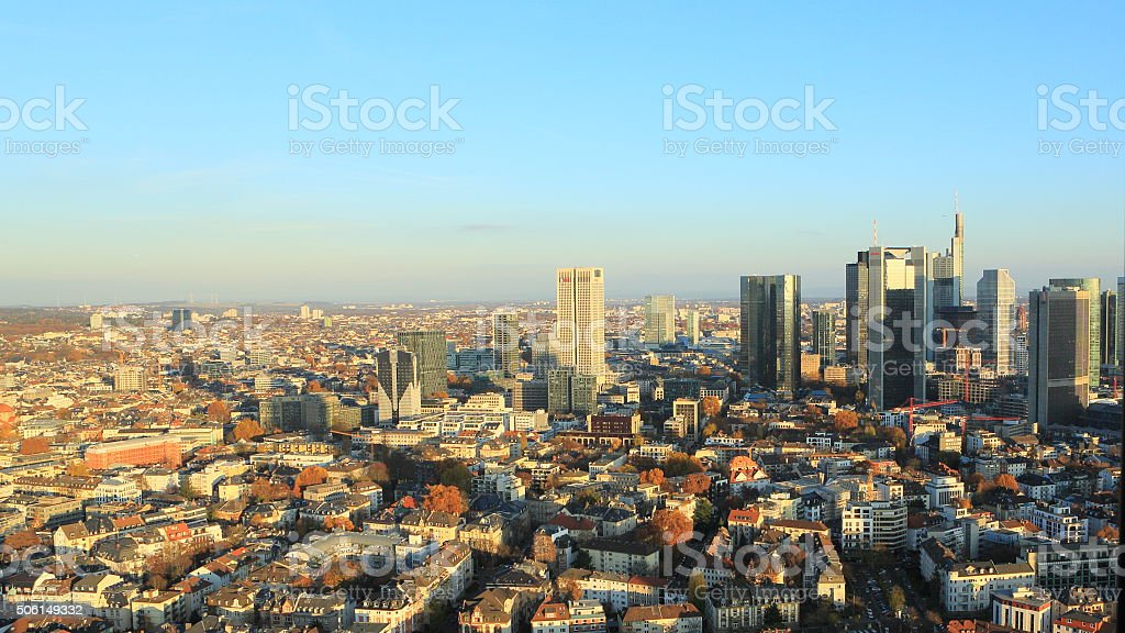 Frankfurt Downtown from North stock photo