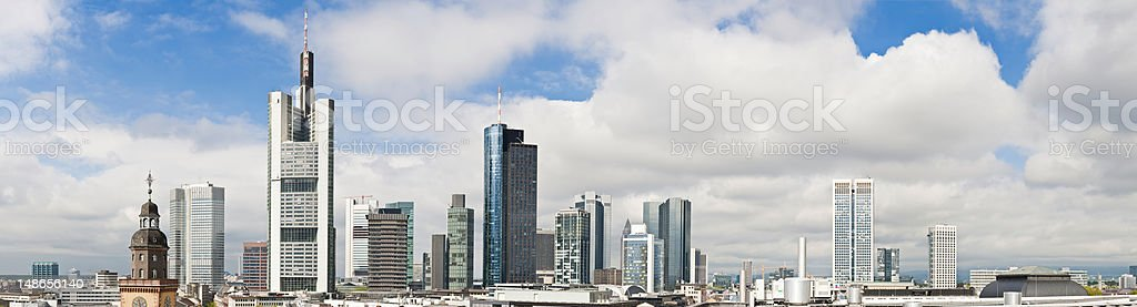 Frankfurt downtown skyscrapers banking towers commercial cityscape panorama Germany stock photo