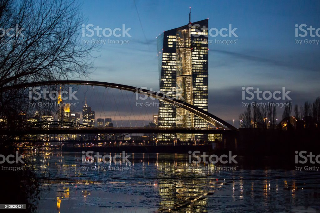 Frankfurt Eastend, River Main and ECB at dusk stock photo