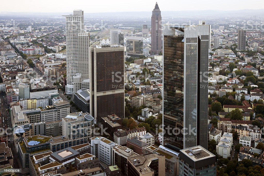 Frankfurt Financial District Aerial View royalty-free stock photo