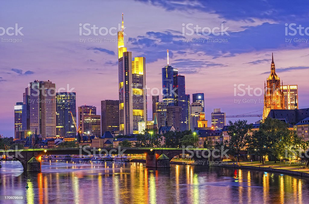 Frankfurt Financial District and river Main at sunset stock photo